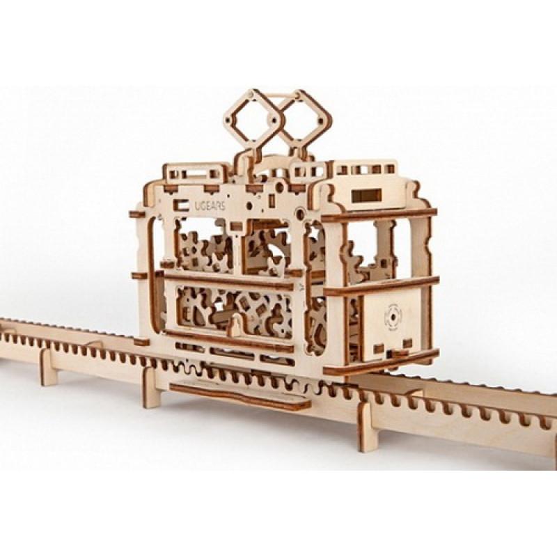 "3D пазл Ugears ""Трамвай с рельсами"""