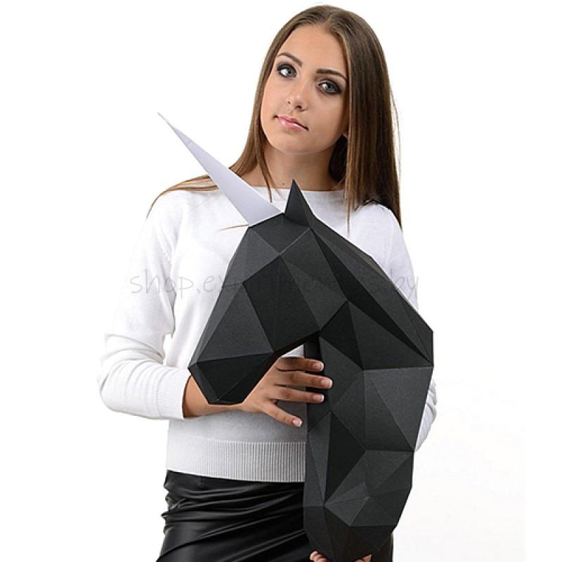 """3D-конструктор из бумаги  """"ЕДИНОРОГ ВАЛЬДЕМАР"""" на стену PP-1EDV-BLA PAPERRAZ"""