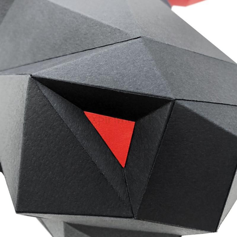 """3D-конструктор из бумаги  """"БЫК АЛЕША (черный)"""" на стену PP-1BUL-2BR PAPERRAZ"""