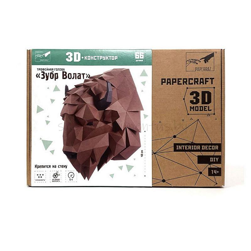 "3D-конструктор из бумаги  ""ЗУБР ВОЛАТ"" на стену PP-1ZUV-2BB PAPERRAZ"