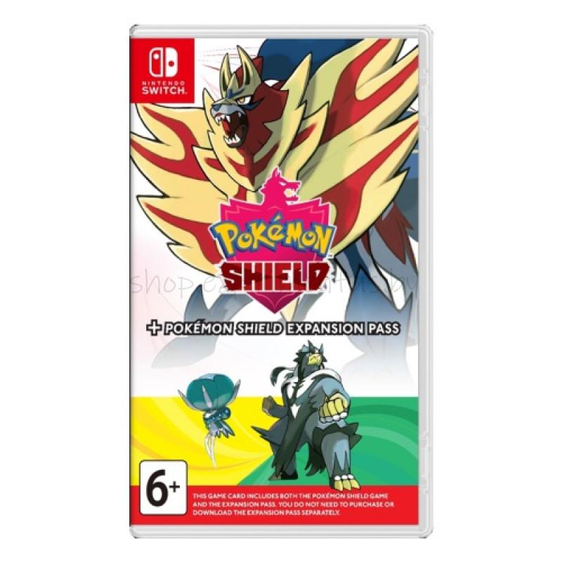 Игра для Nintendo Switch:   Pokemon Shield + Expansion Pass, английская версия