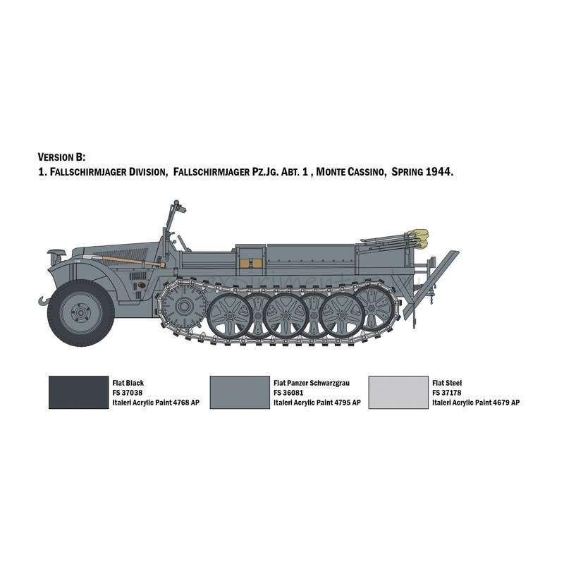 Сборная модель Полугусеничный тягач Sd. Kfz.10 Demag D7 с фигурками немецких десантников (1:35) 6561 Italeri